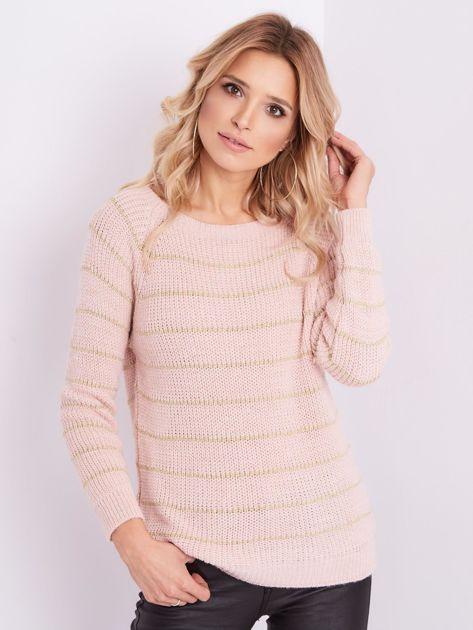 Jasnoróżowy sweter z błyszczącą nitką                              zdj.                              4