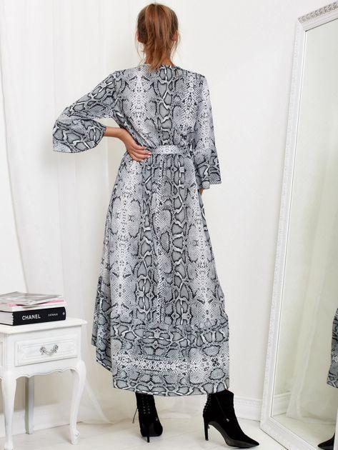 Jasnoszara sukienka maxi z nadrukiem snake skin                              zdj.                              2