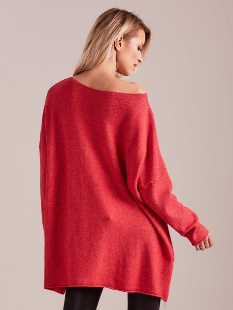 Koralowy długi sweter                              zdj.                              5