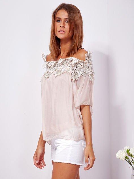 SCANDEZZA Różowa warstwowa bluzka hiszpanka z koronką                              zdj.                              5