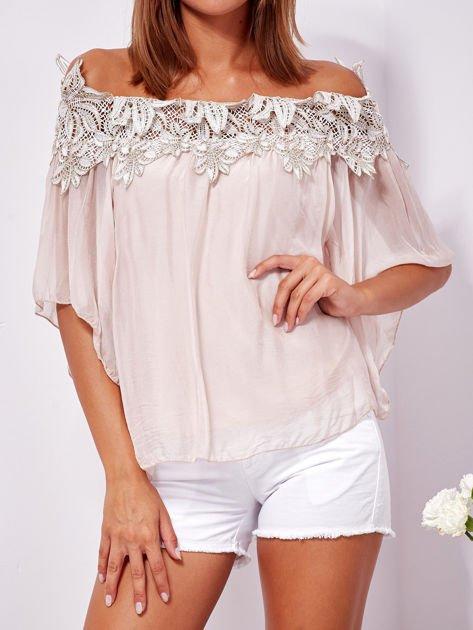 SCANDEZZA Różowa warstwowa bluzka hiszpanka z koronką                              zdj.                              6