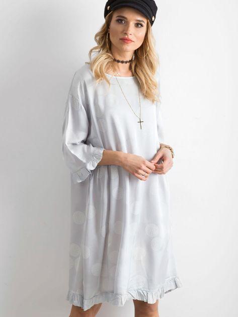 Sukienka we wzory szara                               zdj.                              1