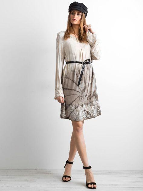 Sukienka z cekinami beżowa                              zdj.                              4