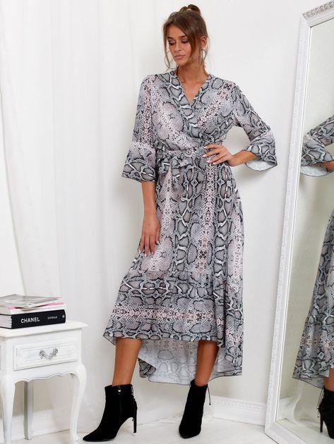 SCANDEZZA Szaro-różowa sukienka maxi z nadrukiem snake skin                              zdj.                              4