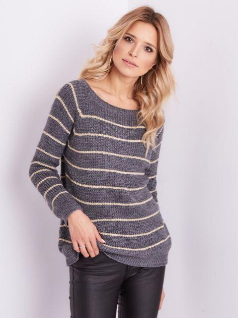 Szary sweter z błyszczącą nitką                              zdj.                              3
