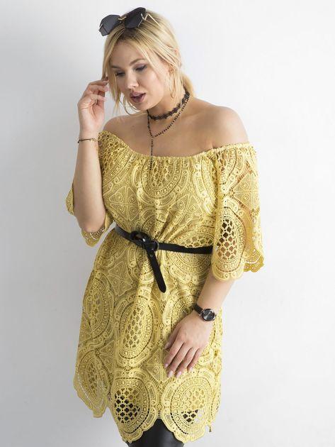 Żółta koronkowa sukienka hiszpanka                              zdj.                              6