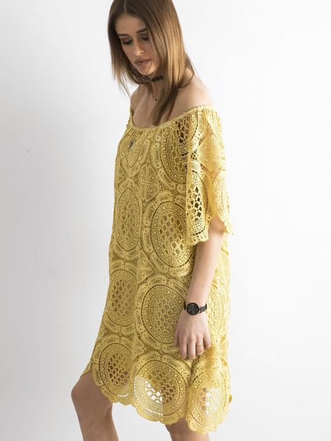 Żółta koronkowa sukienka hiszpanka                              zdj.                              3