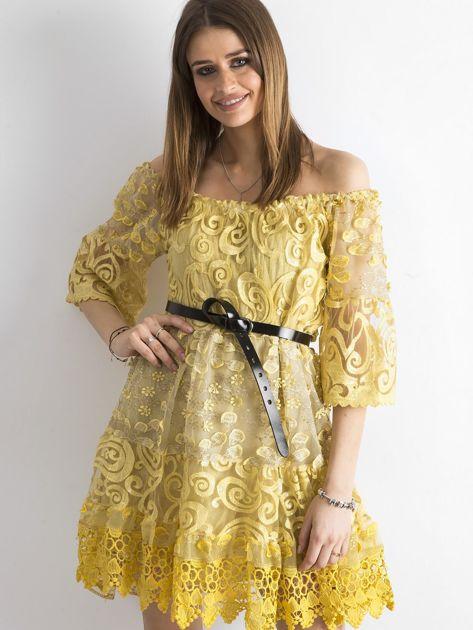 Żółta sukienka hiszpanka z koronką                              zdj.                              1