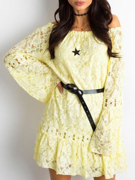 Żółta sukienka z hiszpańskim dekoltem                              zdj.                              1