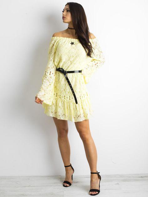 Żółta sukienka z hiszpańskim dekoltem                              zdj.                              4