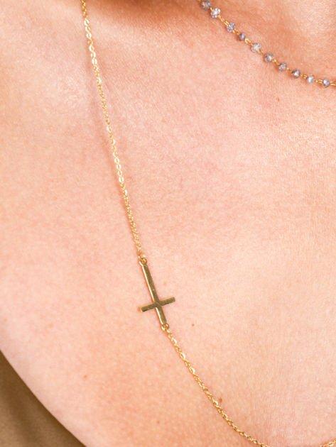 STAL CHIRURGICZNA 316L Złoty Naszyjnik Biały Różaniec Krzyż                              zdj.                              3
