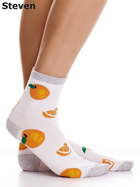 STEVEN Bawełniane białe skarpety w pomarańcze                                  zdj.                                  2