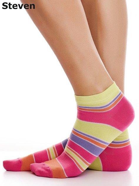 STEVEN Bawełniane stopki żółto-różowe z nadrukiem pasków                              zdj.                              3