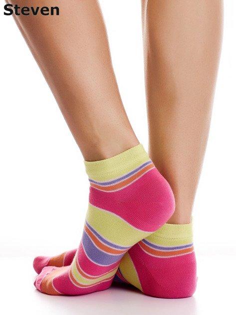 STEVEN Bawełniane stopki żółto-różowe z nadrukiem pasków                              zdj.                              4