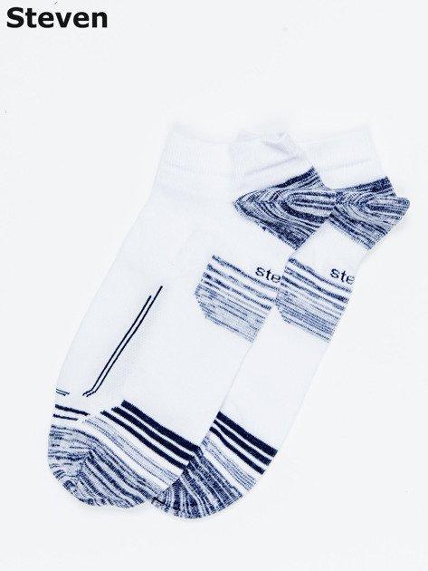 STEVEN Białe krótkie skarpety męskie z motywem graficznym                              zdj.                              1