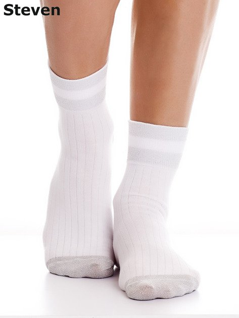 STEVEN Białe skarpety z wysoką zawartością bawełny                                  zdj.                                  1