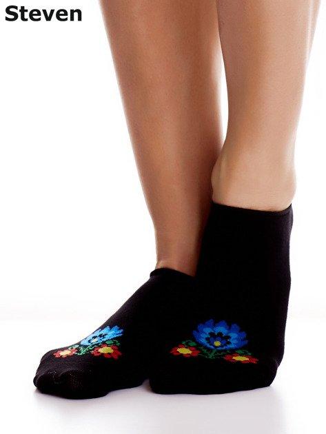 STEVEN Czarne stopki bawełniane z folkowym detalem                              zdj.                              1