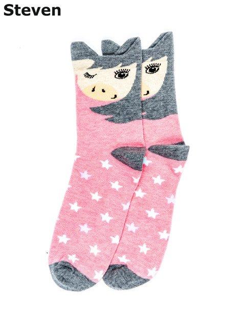 STEVEN Różowo-szare skarpety dziewczęce z kucykiem i gwiazdami                                  zdj.                                  1