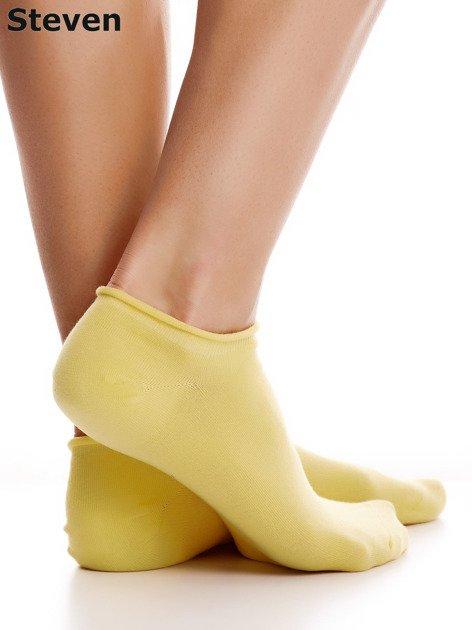 STEVEN Żółte gładkie stopki bawełniane                              zdj.                              2
