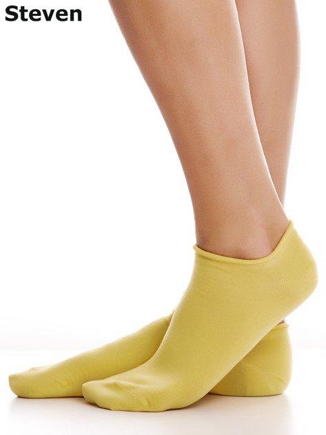 STEVEN Żółte gładkie stopki bawełniane                              zdj.                              4