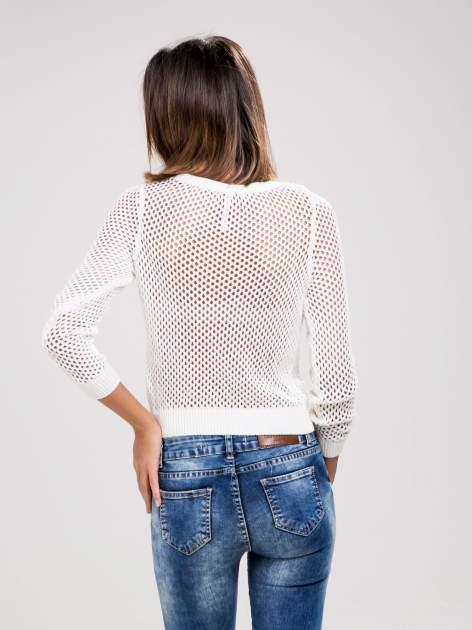 STRADIVARIUS Biały ażurowy sweter z rękawem 7/8                                  zdj.                                  2