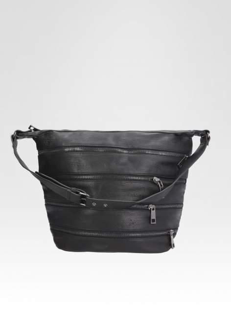 STRADIVARIUS Czarna torba z zipami                                  zdj.                                  2