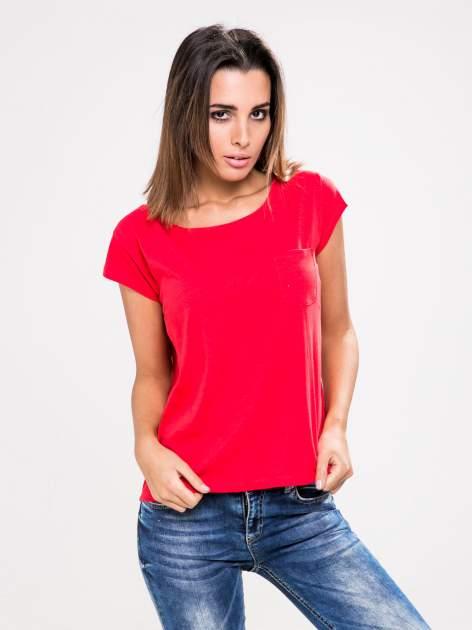STRADIVARIUS Czerwony t-shirt basic z kieszonką