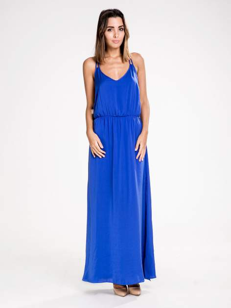 STRADIVARIUS Kobaltowa sukienka maxi w stylu empire