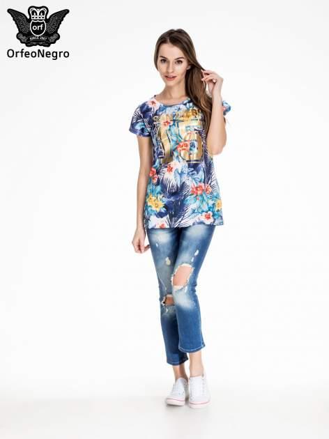 Siateczkowy t-shirt w kwiaty z nadrukiem SAN DIEGO 15                                  zdj.                                  2