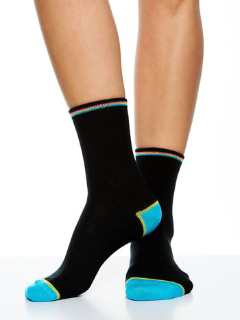 Skarpetki damskie czarne kolorowa stopa i palce mix 5 par                                  zdj.                                  6