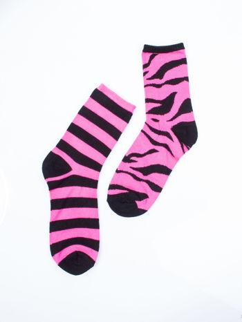 Skarpetki damskie róż zebra-paski zestaw 2 pary                                  zdj.                                  6