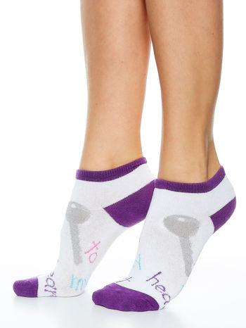 Skarpetki damskie stopki fiolet-biały dziewczęce zestaw 2 pary                                  zdj.                                  4