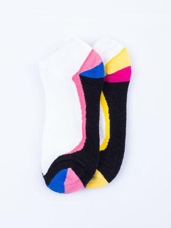 Skarpetki damskie stopki niebieski-żółty zestaw 2 pary