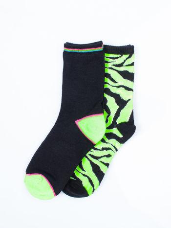 Skarpetki damskie zielona zebra-czarny zestaw 2 pary