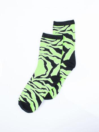Skarpetki damskie zielona zebra-czarny zestaw 2 pary                                  zdj.                                  3