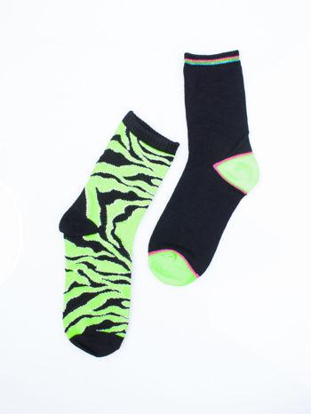 Skarpetki damskie zielona zebra-czarny zestaw 2 pary                                  zdj.                                  6