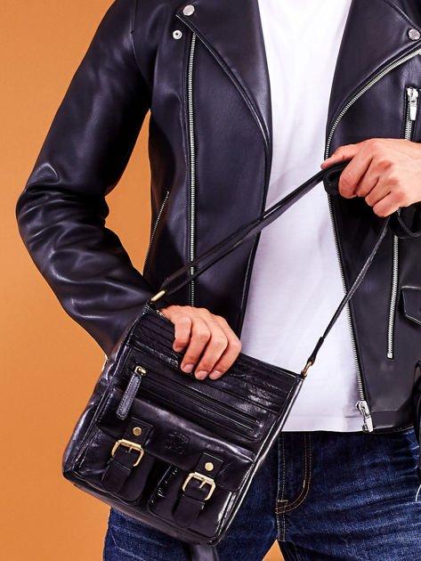 Skórzana torba męska czarna z kieszeniami                              zdj.                              8