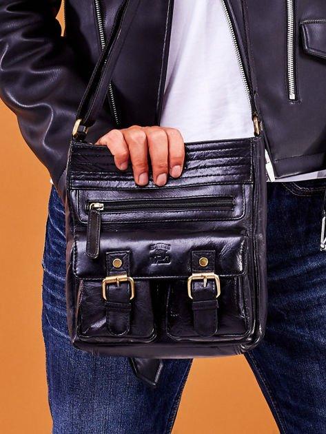 Skórzana torba męska czarna z kieszeniami                              zdj.                              1