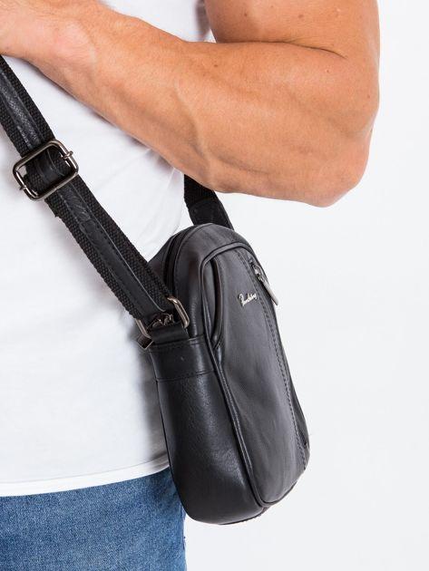 Skórzana torba męska listonoszka czarna                              zdj.                              3