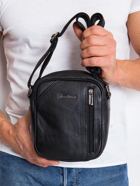 Skórzana torba męska listonoszka czarna                              zdj.                              1