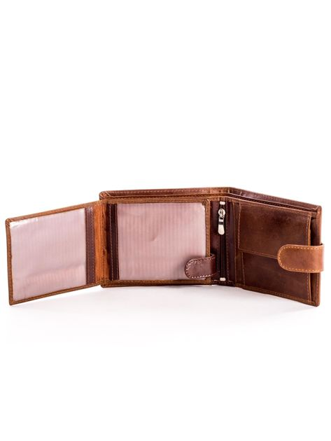 Skórzany brązowy portfel męski z klapką                              zdj.                              5