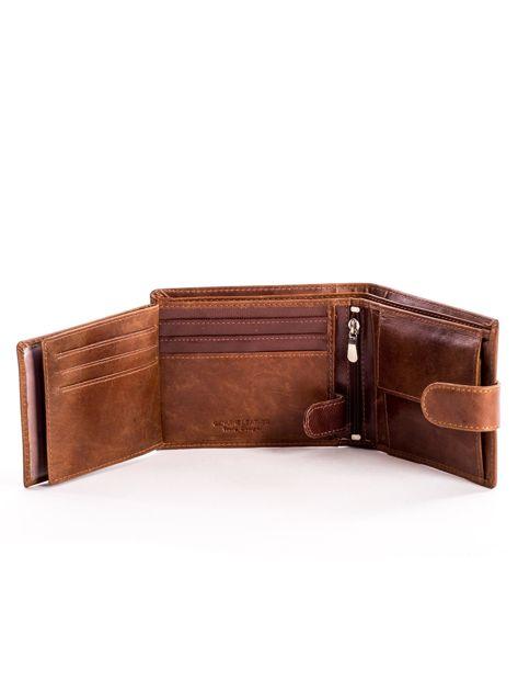 Skórzany brązowy portfel męski z klapką                              zdj.                              6