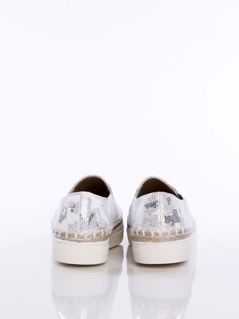 Slipony srebrne Glitter na grubej podeszwie w marmurkowe przecierane wzorki z gumka po bokach                              zdj.                              4