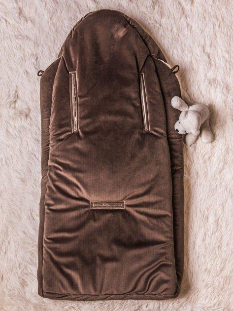 Śpiworek niemowlęcy pikowany do wózka lub łóżeczka z poduszeczką ocieplany na futerku brązowy                              zdj.                              5