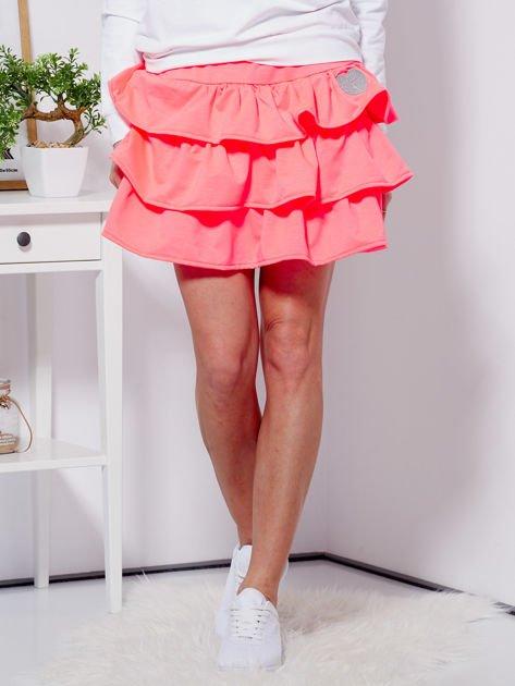 Spódnica fluo różowa dresowa z falbankami                                  zdj.                                  1