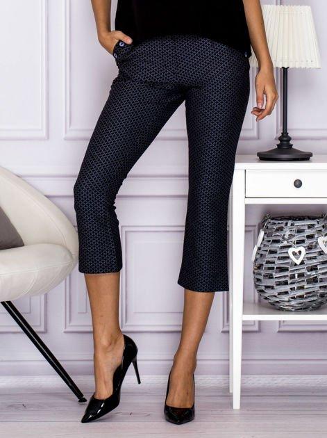 Spodnie 7/8 w drobny wzór szare                              zdj.                              1