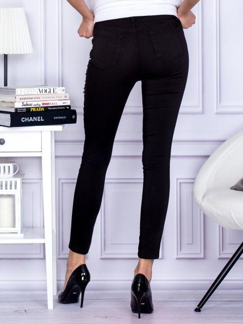 Spodnie czarne z ozdobnymi perełkami                                  zdj.                                  2