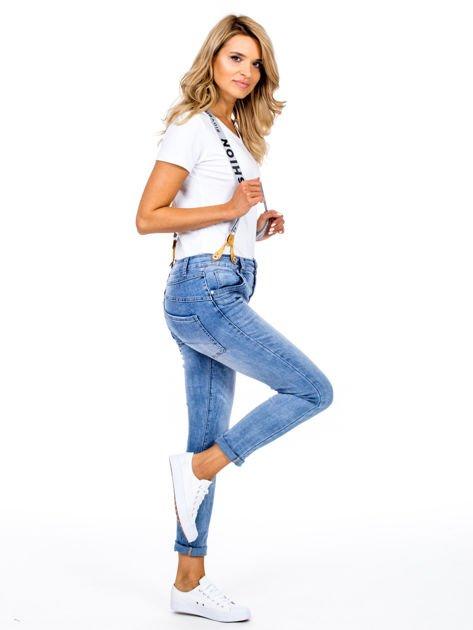 Spodnie jeansowe niebieskie z szelkami                              zdj.                              3