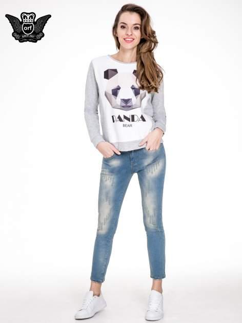 Spodnie jeansowe rurki z pionowymi przetarciami                                  zdj.                                  2