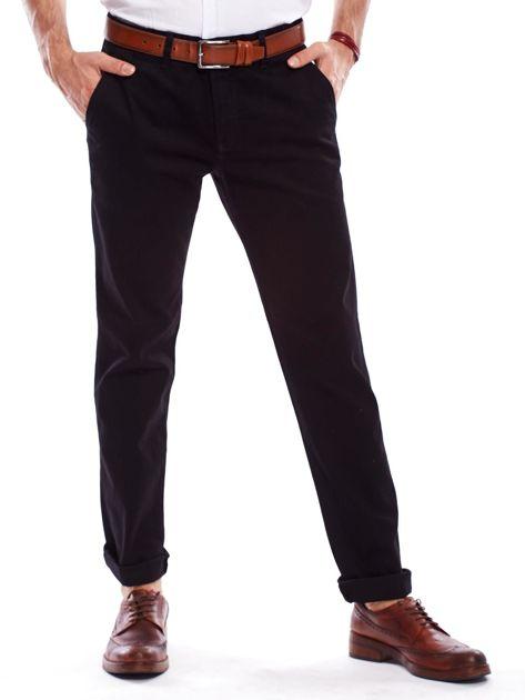 Spodnie męskie czarne o prostym kroju                                  zdj.                                  1